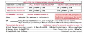 Fees And Payment Methods Diploma CIC