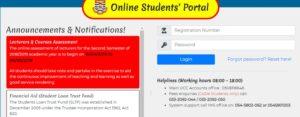 UCC student portal Login