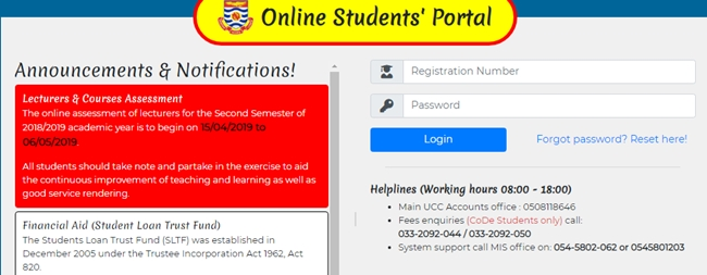 University Of Cape Coast (UCC) Student Login Portal