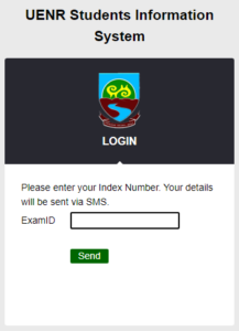 UENR Result checking portal password reset page